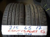 (OPEN HOL MON 5PM ) MATCHING PAIR 215 45 17 CONTIS 7MM TREAD £70 PAIR SUPP & FITD (loads more av}