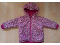 Jojo Maman Bebe reversible waterproof fleece lined rain jacket/ coat pink ditsy design age 3-4