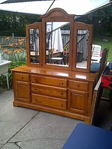 Solid Wooden Dresser with folding mirror.