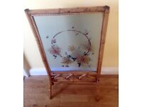 Victorian Bamboo fire screen. Painted flowers on glass screen.