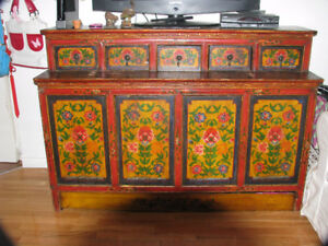 ANTIQUE HUTCH, from MONGOLIA, hand painted