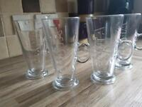 6 large Costa coffee glasses