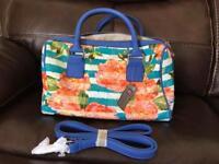 BNWT Blue floral stripe bag