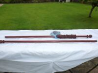 WOODEN 9ft CURTAIN POLE + ALL FITTINGS..ONLY £5