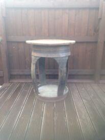 Oak whiskey barrel table