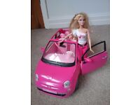 Barbie pink Fiat 500cc plus Fiat doll - Collectable