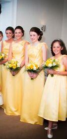 Yellow Dessy bridesmaid dresses