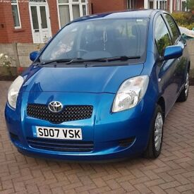 Beautiful Toyota Yaris low mileage 2007 blue 1 lady owner 2 keys quick sell good price