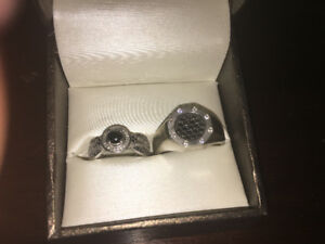 His and Hers Black Diamond Ring Set