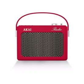 Akai A60015BL Red Retro Portable Radio - PLL FM AM Faux Leather