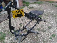 CZ 125 frame with number plate,later model 1991