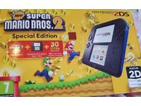 LIKE NEW- Nintendo 2DS Console (Black and Blue) with New Super Mario Bros. 2 - (2 YEARS WARRANTY)