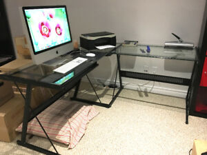 """""""L"""" Shaped Computer Desk with Glass Top"""""""