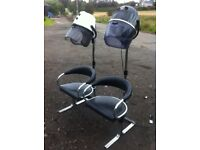 Salon double hood dryers and seat unit combination