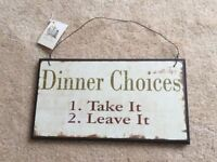 'Dinner Choices' - Shabby Chic Wall Sign