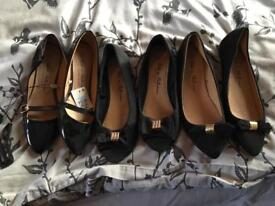 Primark flat black shoes all size 5