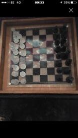 Glass chess set £5