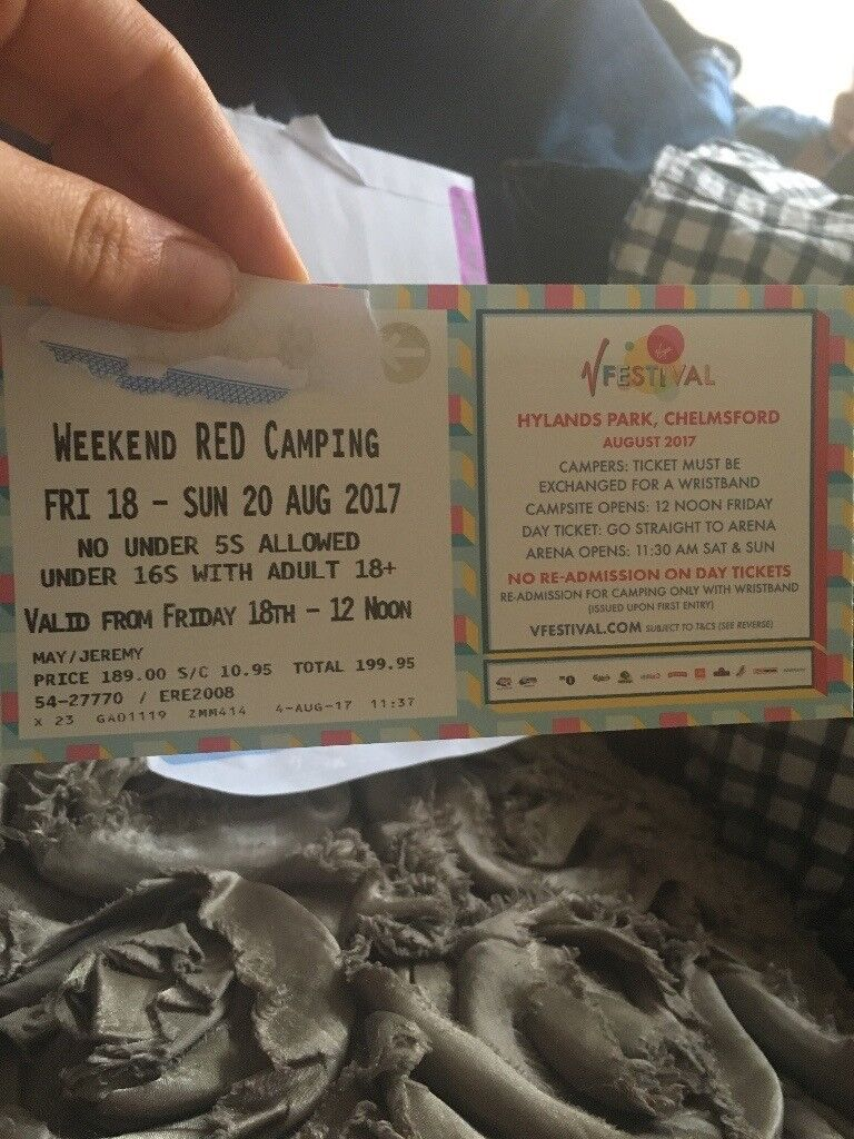 V fest ticket full weekend red camping