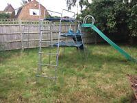 TP climbing frame, 2 slides, fireman's pole, twizzler and monkey run