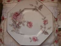 8 VINTAGE FRENCH LIMOGES Raynaud & Co PLATES + 1 DISH PINK ROSES AND SILVER EDGE