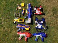 Nerf Guns. 4 guns, body targets, protective glasses.