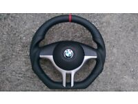 BMW M3 M5 X5 E39 E46 NEW CUSTOM MADE FLAT BOTTOMSTEERING WHEEL