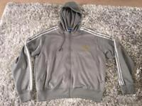 2 X Adidas hooded tops 1 blue 1 grey size 2XL