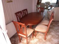 Dining room table and six chairs. Excellent quality 60inch x 37 with extension 75 x 37.