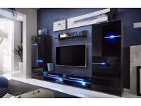 Modern Living Room Set in Black Gloss with LED lights
