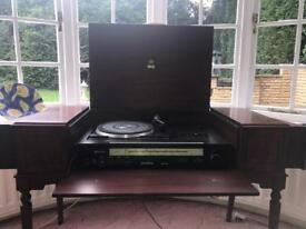 Dynatron record and tape player with mahogany stand
