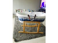 Mothercare Ombré Moses Basket in Blue