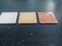 """3 and 3/4"""" (95 cm) square ceramic tiles for sale 27 white 47 honey and 61 terracotta"""