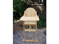 Solid Beech Hardwood High Chair.( Quality Built).