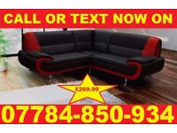 BRAND NEW KAEROL CORNER SOFA BLACK/RED + DELIVERY