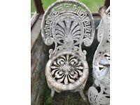 6 Original Victorian cast iron garden chairs