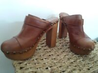 WOODIES, Jeffrey Campbell platform Clogs EU Size 39, UK Size 6, Studded Brown Leather,  5 inch Heel