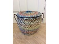 Blue orange Round Wicker Straw Lidded Storage Basket