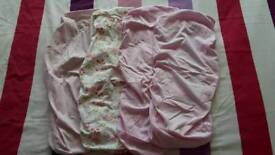 4x Moses Basket/Carrycot Sheets