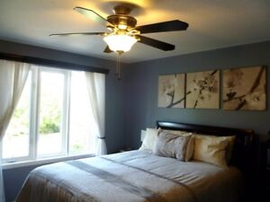 QUEEN mattress, boxspring + bed frame, tall dresser + side table
