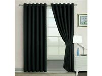 Blackout Curtains - Thermal Insulated - Ring Top - Eyelet Curtains (90 Wide X 90 Drop, Black) NEW