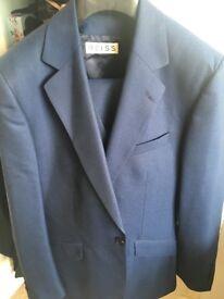 Reiss Navy/Ink Blue Suit inc. trousers & waist coat. 36 chest / 30 waist