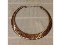 Gold colour leopard print necklace