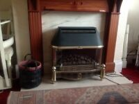Complete fireplace with Gas fire. Timber and marble surround