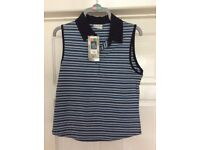 Navy and blue striped top with collar