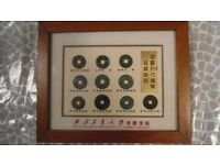 Mounted and Framed Chinese Coins