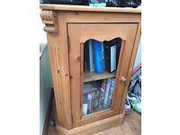 Solid Pine Hi Fi/ Display cabinet with Glass door