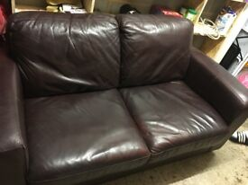 Brown leather sofa dfs