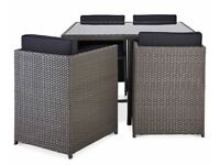Karaya rattan effect 4 seater garden dining set