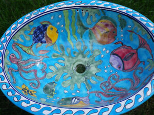 Mexican ceramic bathroom sink with tiles - blue fish design