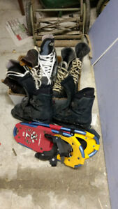 3PR Hockey SZ8, Size 8 rollerbladed and children's snowshoes